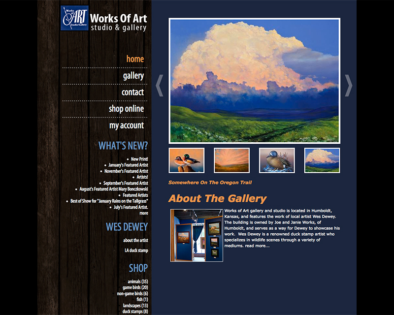 image of works of art gallery website